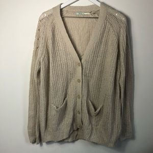 Urban outfitters cream knit cardigan size Large